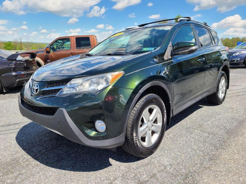 2013 GREEN TOYOTA RAV4 XLE (2T3RFREV4DW) with an 2.5L engine, Automatic transmission, located at 7981 Paxton Street, Harrisburg, PA, 17111, (717) 561-2926, 40.261490, -76.749229 - Photo #0